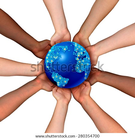 Global connections and globalization concept as a connected business network of multiethnic people holding a world map planet for worldwide cooperation and trade agreement unity. - stock photo