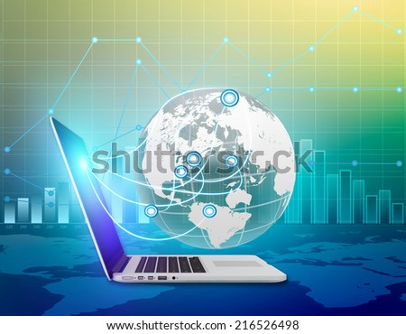 Global connections through the Internet with the world. Control of finances around the world - stock photo