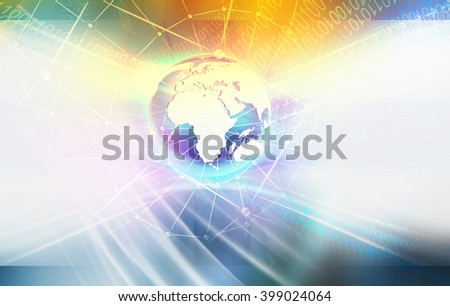 Global Connectivity Background of Digital World, Waving Digital Numbers Orbiting Around the Earth Globe - stock photo