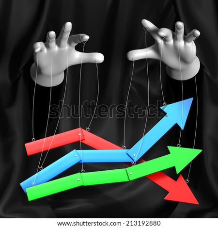 Global conspiracy in the business. Magician manages a rising and falling markets.Conceptual illustration - stock photo