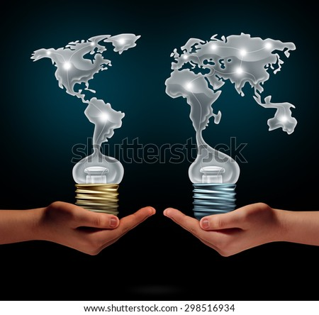 Global creativity business success concept as people holding light bulbs shaped as world continents as a financial trade symbol for creative collaboration and exchange of innovation. - stock photo