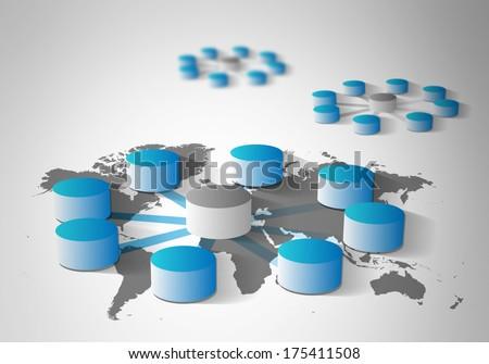 Global database integration and concept of data warehousing, mining, ETL - stock photo