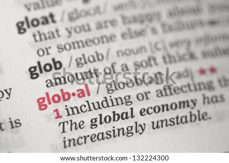 Global definition in the dictionary - stock photo