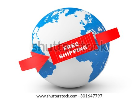 Global delivery. Free Shipping Container with Earth Globe on a white background