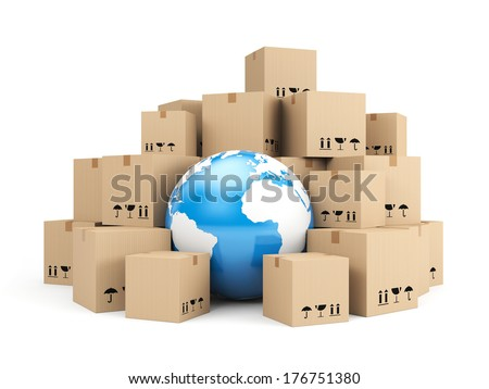 Global delivery. Heap of cardboard boxes - stock photo