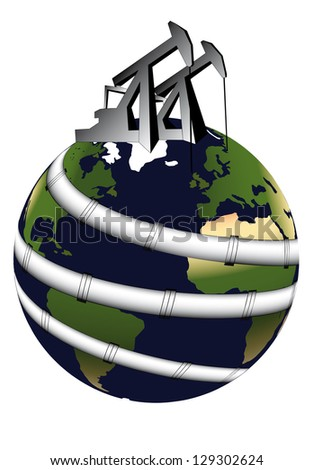 global dependence on crude oil and gas - stock photo