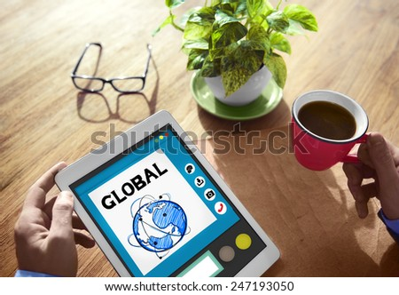 Global Digital Working Online Concept - stock photo