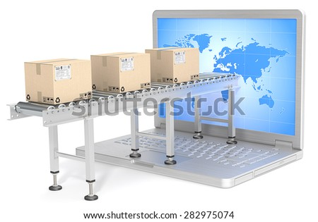 Global Distribution. Industrial Conveyor with cardboard Boxes connected to Laptop Screen. World map. Back light.