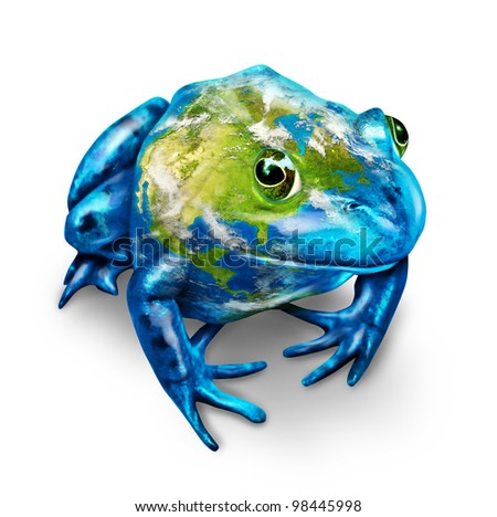 Global earth frog with a map of the planet as an environmental conservation symbol for the protection of nature that are endangered due to pollution and toxic waste on a white background. - stock photo