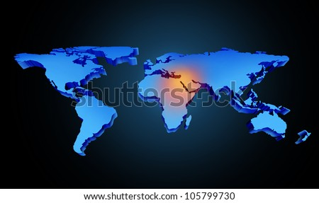 Global earth middle east crisis with a conflict zone of the persian gulf symbol with countries as Iran Israel Egypt Libya Kuwait Syria Saudi Arabia focused with a blue map and red highlight. - stock photo