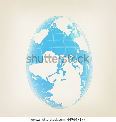 Global Easter on a white background. 3D illustration. Vintage style.