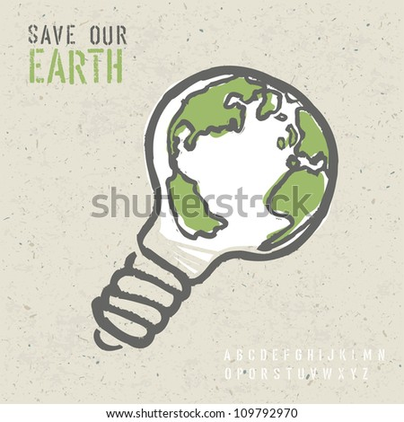 Global ecology concept. Raster version, vector file available in portfolio. - stock photo