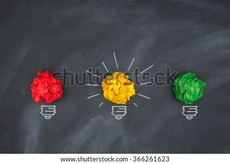 Global economic bright yellow warning, colorful Paper Ball on Blackboard and lightbulb  shape