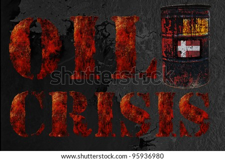 Global economic oil crisis with vintage rusty oil drum and grudge text background. Suitable for all oil crisis economic business concept, logo, icon design. With Denmark flag.