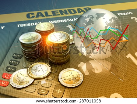 Global economics graph and euro coins as finance concept. - stock photo
