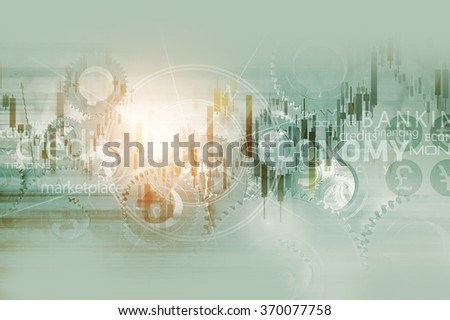 Global Economy Abstract Background. World Economy Mechanism Conceptual Background Illustration with Trading Stats, Compass Rose and Some Mechanisms. - stock photo