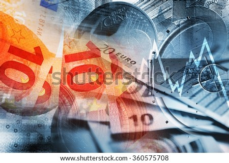 Global Economy Concept. Euro Banknotes, Coins and Line Graphs Conceptual Illustration. Money Trading Business Theme. - stock photo