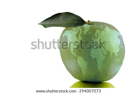 Global Education Apple -- An apple, symbolizing education, with a global map superimposed over it.