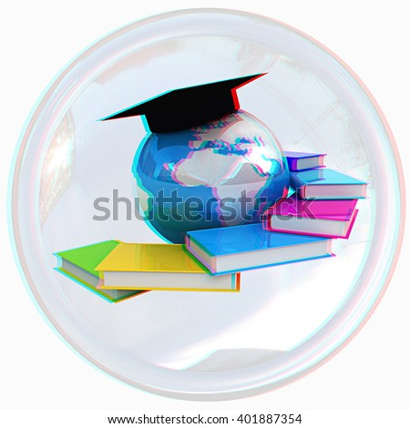 Global Education button on a white background. Anaglyph. View with red/cyan glasses to see in 3D. - stock photo