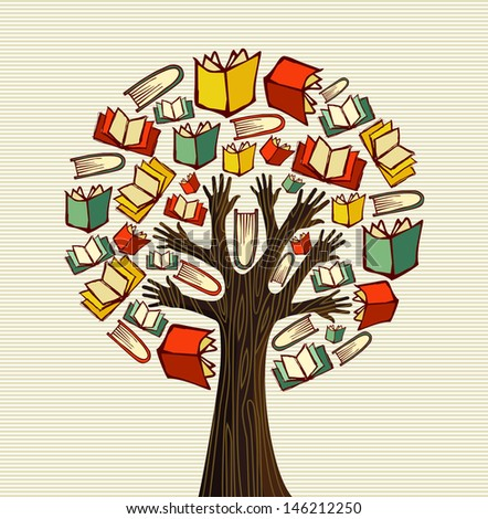 Global education concept tree hand books.