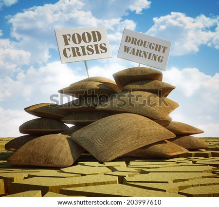 Global food crisis and drought warning - stock photo