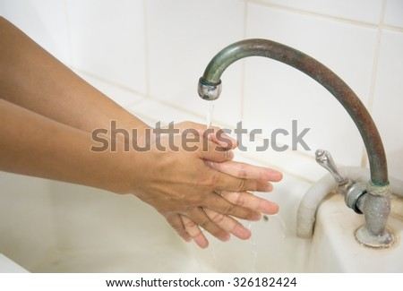 Global Handwashing Day (GHD) . It takes place on October 15 of each year - stock photo