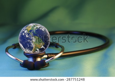 "Global Health and  medical technology,  ""Elements of earth image courtesy NASA""   /   http://www.killerasteroids.org/ - stock photo"