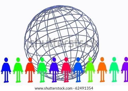 global human chain - stock photo