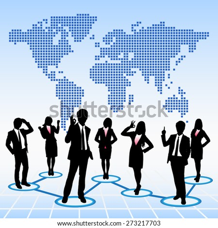 Global human resources concept business people work team with world map background