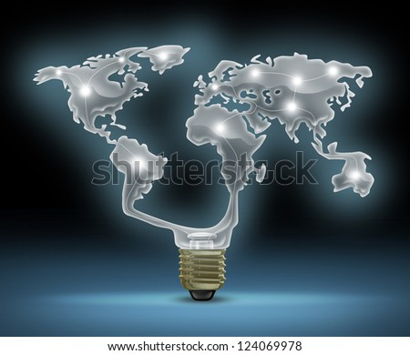 Global innovation symbol with a glowing glass light bulb shaped as the world map representing the business concept of new and future inventions in international technology and design creativity. - stock photo