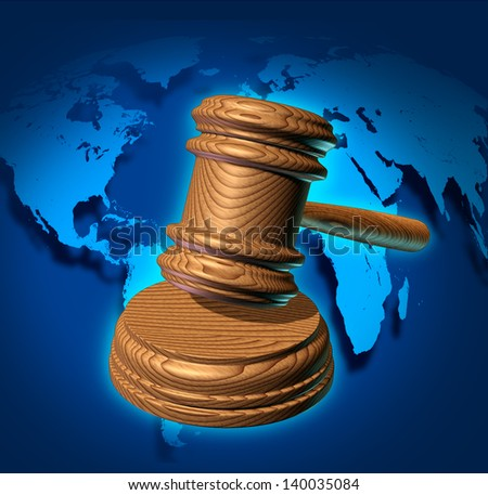 Global law and international business justice system with a judge gavel or mallet making a judgment based on government regulations with a world map in the background. - stock photo