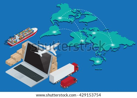 Global logistics network. Concept of air cargo trucking rail transportation maritime shipping customs clearance.  Flat 3d isometric illustration - stock photo
