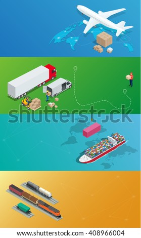 Global logistics network. Global delivery. Road freight, Project department, Air freight, Sea freight, rail freight, maritime freight. Flat 3d isometric illustration. On-time delivery - stock photo