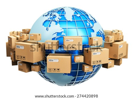 Global logistics, shipping and worldwide delivery business concept: blue Earth planet globe surrounded by heap of stacked corrugated cardboard boxes with parcel goods isolated on white background - stock photo