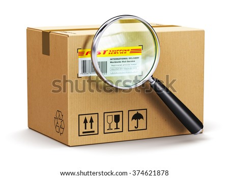 Global logistics, shipping, delivery and online internet order parcel tracking technology business concept: cardboard box parcel with tracking number and barcode and magnifier glass isolated on white - stock photo