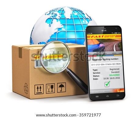 Global logistics, worldwide shipping, delivery and internet order parcel tracking technology business commercial concept: smartphone, cardboard box with magnifier and Earth globe isolated on white
