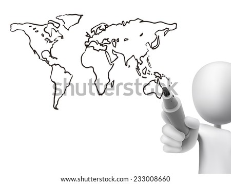 global map drawn by 3d man over transparent board - stock photo