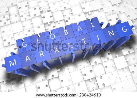 Global Marketing - puzzle 3d render illustration with block letters on blue jigsaw pieces