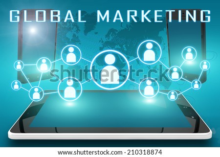 Global Marketing - text illustration with social icons and tablet computer and mobile cellphones on cyan digital world map background - stock photo