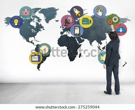 Global Media Social Media International Connection Concept - stock photo