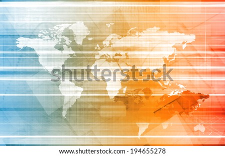 Global Network and Communication Technology as Art - stock photo
