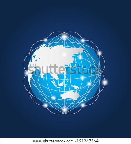Global Network Asia - stock photo