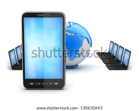 Global network - computers and mobile phone