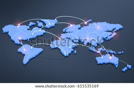 global network concept with 3d rendering world map with connection lines