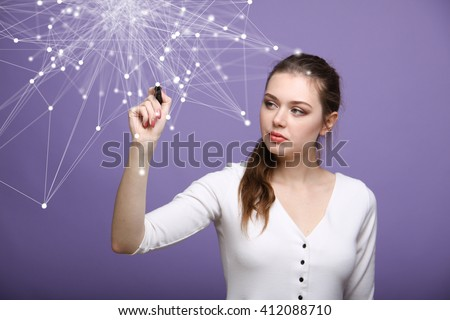 Global network connection concept, woman working with futuristic computer interface. - stock photo