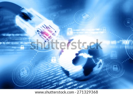 Global network connection with Internet security  - stock photo