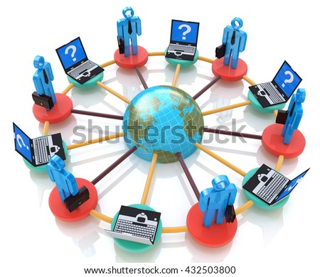Global Network in the design of information related to communication. 3d illustration - stock photo