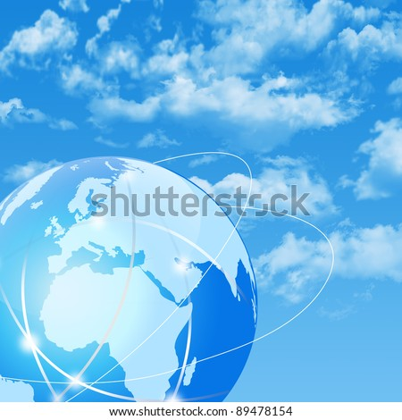 global network on the cloudy sky