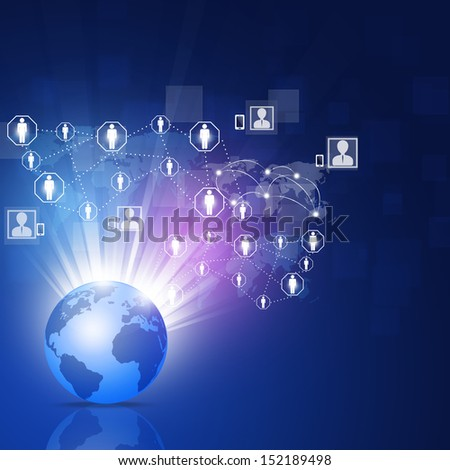 global network social and business connection blue background - stock photo