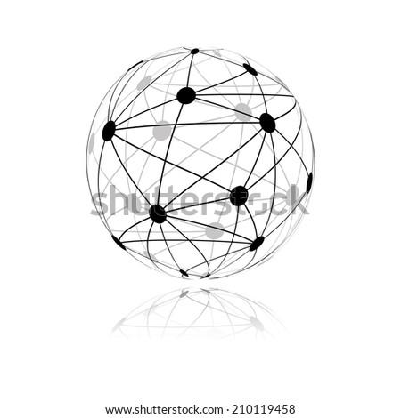 global network sphere icon. - stock photo